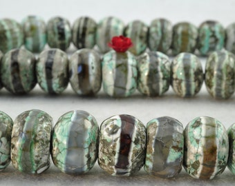 14 inches of Retro Agate OneLine faceted rondelle beads in 10X14mm
