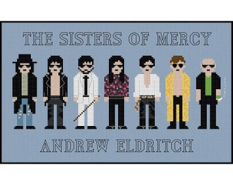 The Sisters Of Mercy Andrew Eldritch Pixel People - Cross Stitch PDF Pattern Instant Download