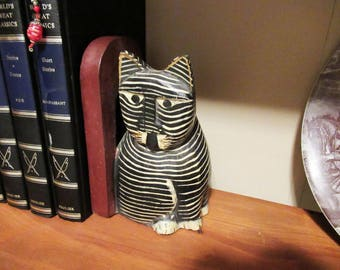 Vintage Wooden Bookend Cat Black White Zebra Striped Handcrafted