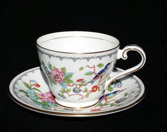 Aynsley, Pembroke, cup and saucer, bone china, flowers and birds, English teacup, made in England, porcelain, vintage teacup, years 80