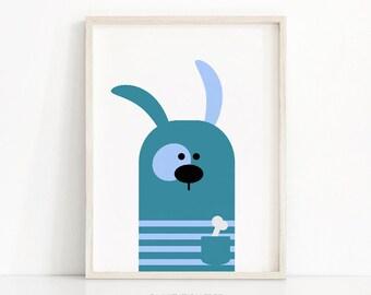 Printable Nursery Art, Animal Nursery Print, Baby Wall Art, Animal Art Print For Kids, Puppy Nursery Decor, Blue Nursery Wall Art Printable