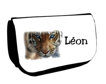 Black tiger /crayons make-up case personalized with name