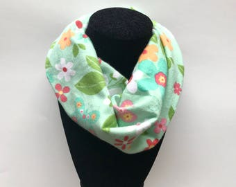 Mint Green Infinity Scarf - Mint Toddler Infinity Scarf - Aqua Scarves - Floral - Scarves for girls - Infinity scarves