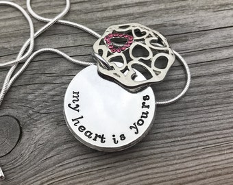 Hand stamped personalised pendant, secret message necklace, hidden message necklace, gift for her, mothers day gift, personalised necklace