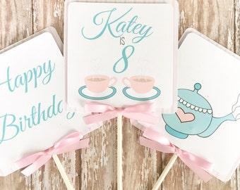 tea party centerpieces, tea party birthday centerpieces, custom tea pot center pieces, pink and blue tea party birthday table toppers