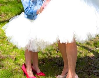 White Mommy & Me Tulle Skirts - Girls tutu, Twinning, Wedding tulle skirt, Two-of-a-kind, ladies tulle skirt, SEWN tulle skirt