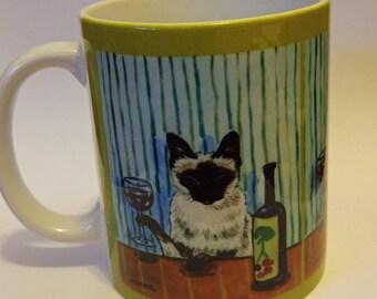cat art - Siamese cat at the Wine Bar mug cup 11 oz art mug cup 11 oz gift, cat gifts, gift