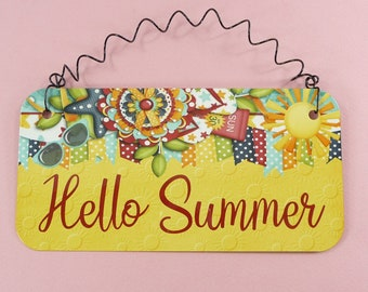 HELLO SUMMER SIGN Bright Colorful Seasonal Metal Wire Small Wall Hanging Home Gift Decor Beautiful Welcome Summertime