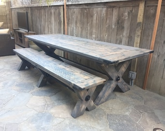 X-Base Farmhouse Dining Table   Rustic Dining Table   Reclaimed Wood Dining Table   Scottsdale/Phx Area