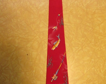 Gorgeous 1950s Hand Painted Fishing Theme Red Rayon Crepe Rockabilly Tie