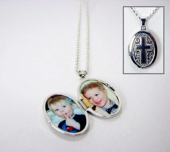 Oval Photo Locket - Sterling Silver, Oval photo locket with a Cross engraving