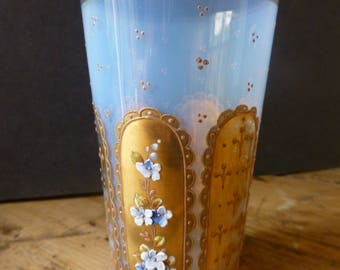 Bohemien Opalescent Glass with Gilt Enamel and Relief Forget me Not Flowers