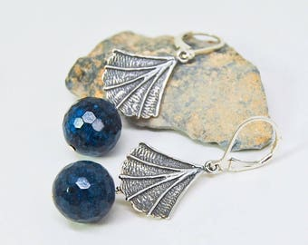 Silver Fan Earrings | Midnight Blue Gemstone Drops  |  Navy Blue Earrings
