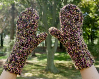 Warm and Cozy Cable Knit Winter Mittens Black Magic Pink & Green Textured Vegan Knit Mittens Ladies Hand Knit Mitts with Knit Cable Pattern