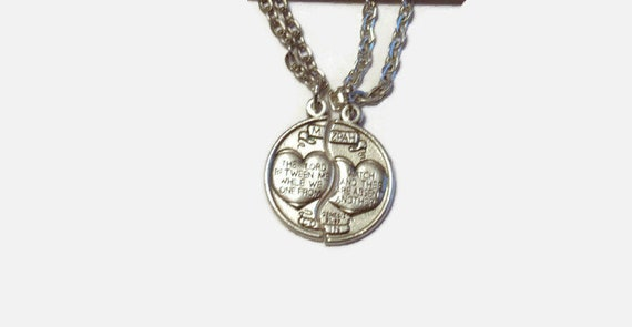 Couples gift mizpah pendant set antique silver genesis like this item aloadofball Image collections