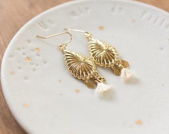 Boucles d'oreilles gouttes dorées à l'or fin
