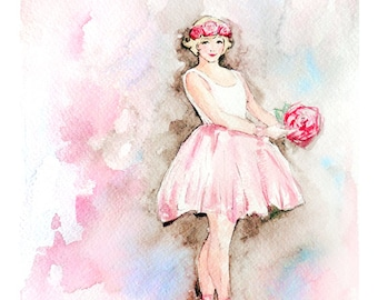 Ballerina Watercolor Painting Print