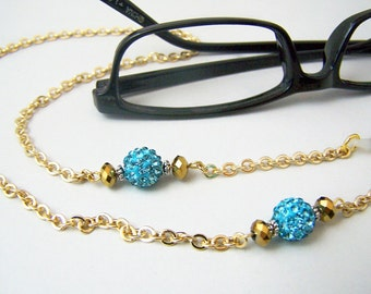 Eyeglass Chain, Gold Glasses Chain, Chain for Glasses, Blue Crystal Bead, Handmade, Silver Chain For Glasses, Eyeglass Necklace,