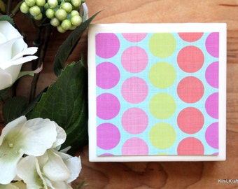 Coaster - Tile Coaster - Coasters for Drinks - Coasters Tile - Polka Dot Coasters - Handmade Coasters - Coasters - Drink Coasters
