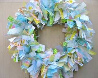 Newborn Baby Boy Fabric Wreath, Nursery Decor, New Baby Boy, Baby Shower Decoration, Boys Room Decoration, Wreath for Hospital Door