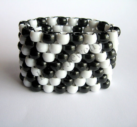 Zig Zag Jewellery: Black White Kandi Cuff ZigZag Zig Zag Bracelet Rave Plur