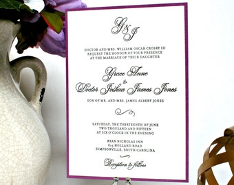 Monogram Letterpress Wedding Invitation with Calligraphy Font, Black and White or Custom Colors