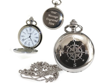 Compass Pocket Watch Roman Numerals Gift for Best Man, Usher, Groom, Custom Engraved Birthday, Wedding or Anniversary Gift for Him