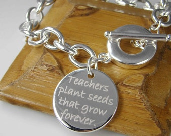 Personalized Teacher Gift, Chunky Chain Link Bracelet, Unique Christmas Gift for Teacher Appreciation Retirement Jewelry