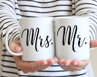 Mr. & Mrs. Coffee Mugs (2 Mugs), Mr Mrs Wedding Gifts, Bridal Shower gift, Engagement Gift, Couples Gift, Custom Mug, His Hers Mugs, Wedding