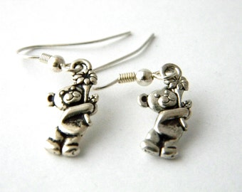 Teddy Bear Earrings Silver Color Holding a Flower Dangle Earrings