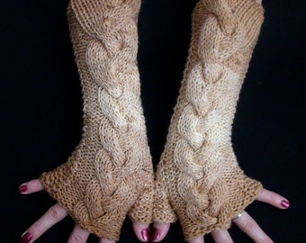 Brown Shades Fingerless Gloves Acrylic Cabled Wrist Warmers