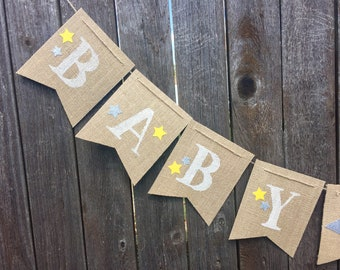 Customizable Twinkle Twinkle Little Star Baby Shower- Baby Boy- Girl- Gender Neutral- Moon and Stars- Welcome Little One- Rustic- Burlap
