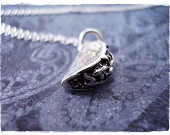 Silver Taco Necklace - Sterling Silver Taco Charm on a Delicate Sterling Silver Cable Chain or Charm Only