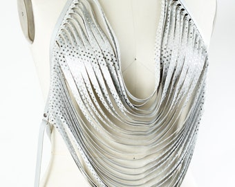 Silver Sequin Body Necklace Vegan Leather