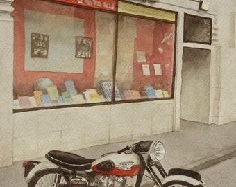 Triumph at Foyles, London, watercolor art print, limited edition