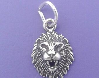 LION HEAD Charm .925 Sterling Silver Leo Zodiac Sign, Astrology Symbol MINIATURE Small - elp526