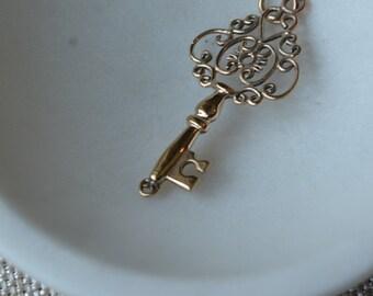 Skeleton Key Pendant Handmade Cast Bronze Old Key Antique Key to my Heart Boho Bohemian Key Pendant Key Necklace, One, BS15-004