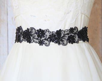 Black Beaded Embroidery Flower Sash //  Head Tie, Headband , Black Sash // SH-68