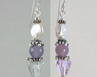 FREE SHIP vintage alexandrite color change crystal, lepidolite, and keshi pearl sterling earrings