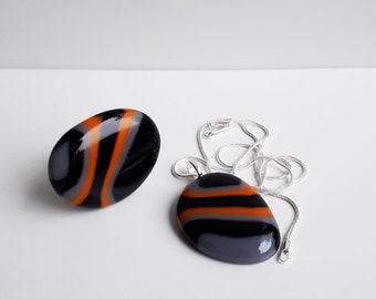 Ring & pendant set - fused glass, in in orange, grey, and black stripes.