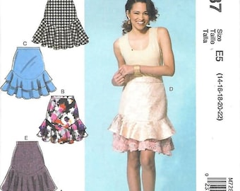 Misses Tiered Flouce Skirts, Sizes 14 Thru 22, New UnCut McCalls Pattern 7287