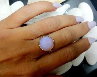 SALE! Bezel ring,gold ring,jade quartz ring,semi precious ring,lilac ring,large ring,gemstone ring,hammered bascket