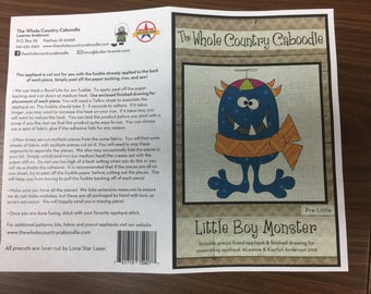Little Boy Monster precut applique by The Whole Country Caboodle