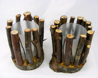 2x Twig Candle Holder brighten Up your christmas and thanksgiving table all natural