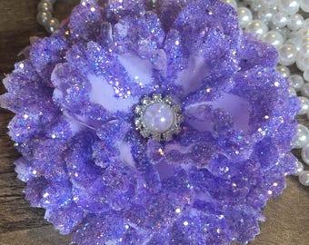 Glittered Peony Hair Flower ~ Wedding/Pinup/ Bridesmaid/ Rockabilly Hair Accessory