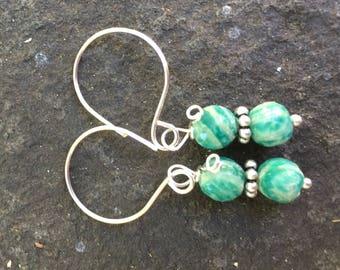 Amazonite  Dangle Earrings \\   Minimalist Jewelry \\ Cowgirl Chic \\ Blue Green Amazonite Jewelry \\ Southwestern Style   Silver Spiral