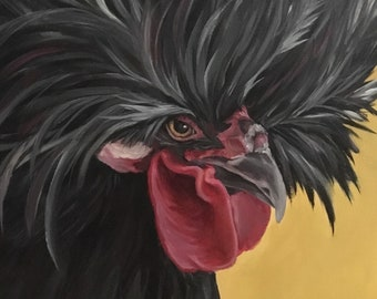 Crazy Haired Rooster Painting