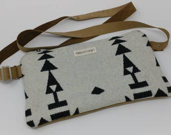 Pendleton wool clutch, Pendleton purse, Pendleton bag, southwestern print, crossbody bag, adjustable strap, leather purse, black and white