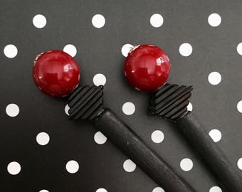Red Black Beaded Hair Stick