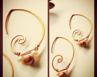 Wai's collection, swirly whirly earring, Copper Ear wires  with fresh water pearls